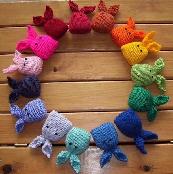 Tiny Knitted Bunnies. A rainbow of bunnies look so cute and adorable! You can use these as toys for kids or catnip playthings for a feline friend.