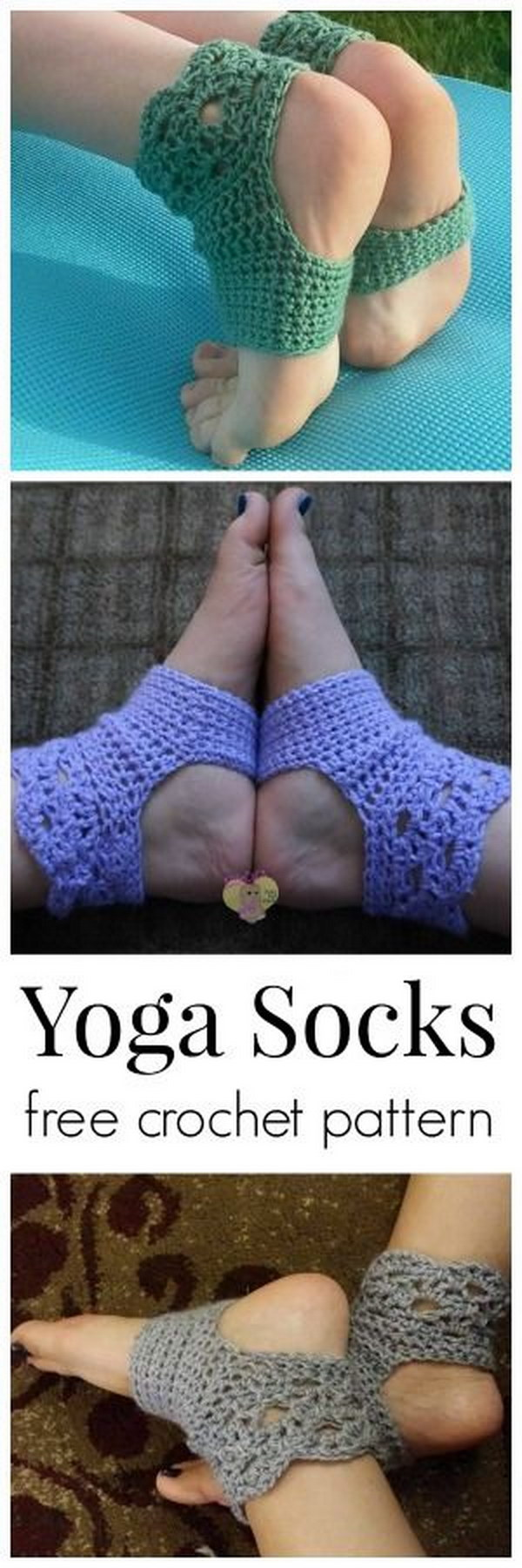 Perfect Harmony Yoga Crochet Socks. Pretty, comfortable and stylish! Keep your feet warm and fashionable with this easy crochet socks this winter. Tutorial via