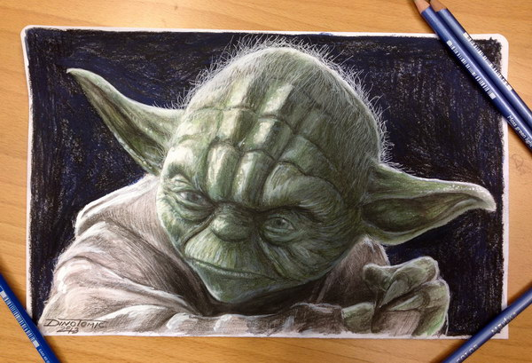 yoda color pencil drawing