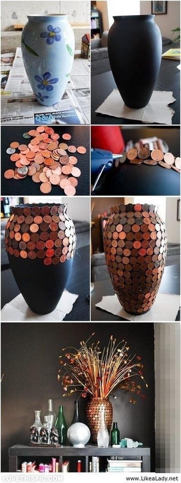 Elegant DIY Penny Vase.