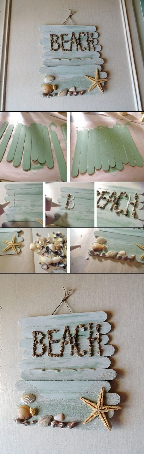 DIY Wall Art Decor Made with Popsick Sticks.