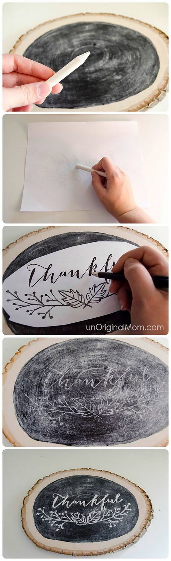 Thankful Letter Chalkboard Wood Slice Decor.