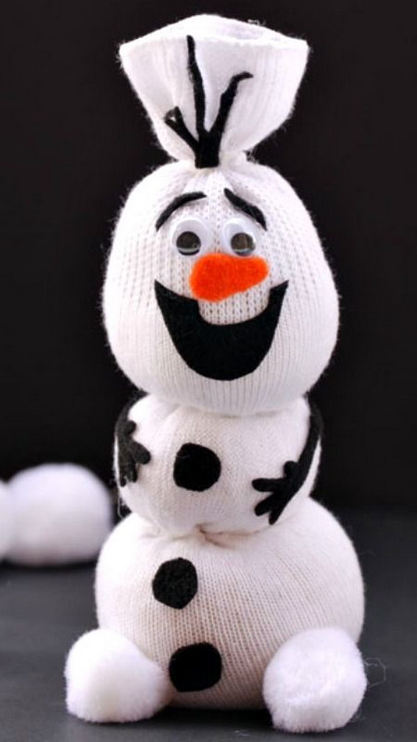 DIY Olaf Sock Snowman.