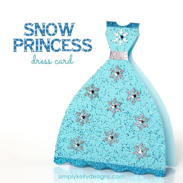 DIY Glittery Snow Princess Card.