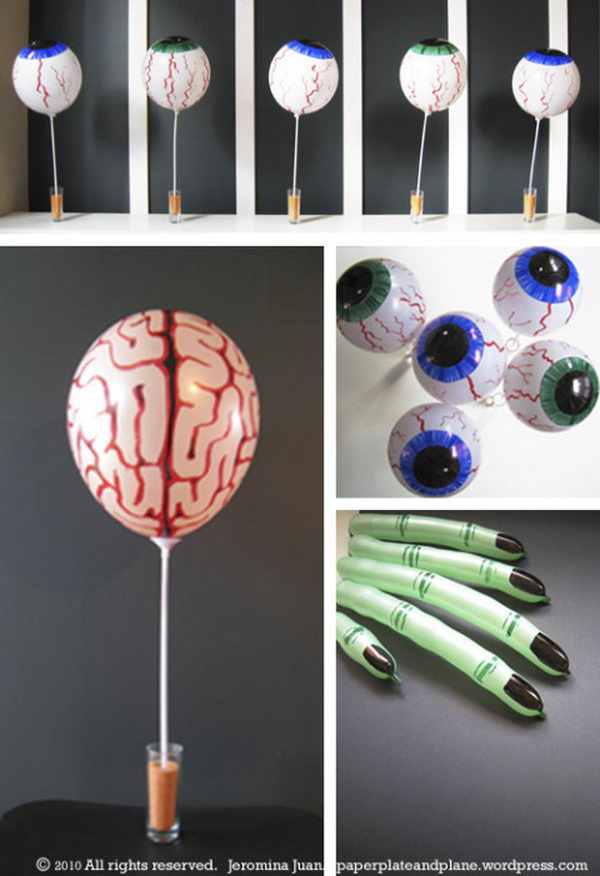 25 easy and cheap diy halloween decoration ideas 2017 for Balloon decoration ideas diy