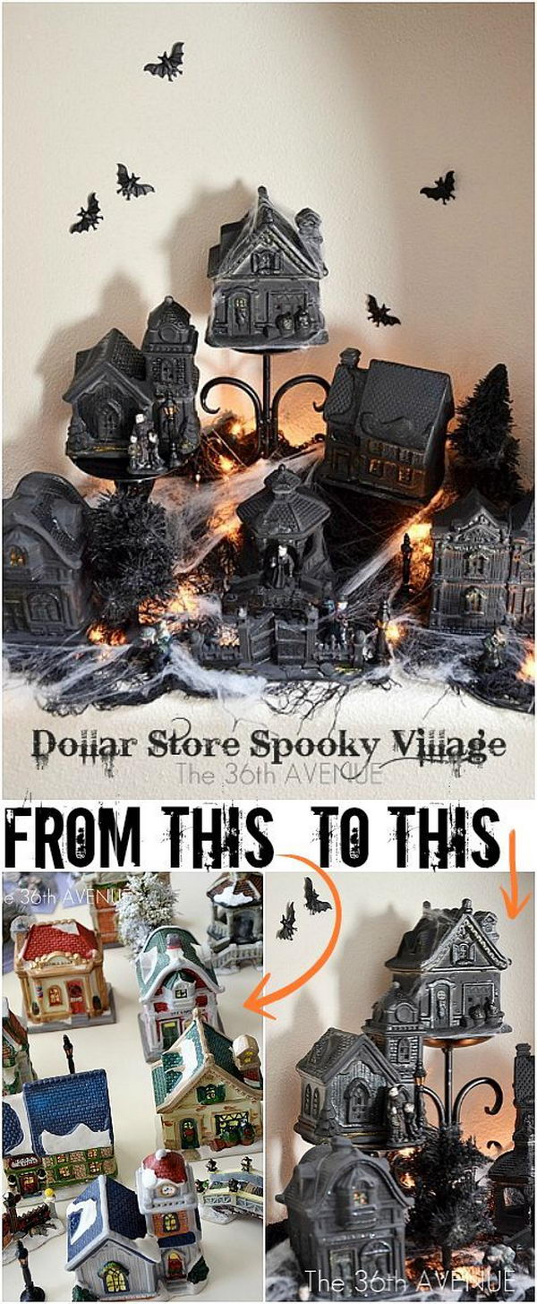 diy spooky dollar store halloween village - Cheap Halloween Decorating Ideas