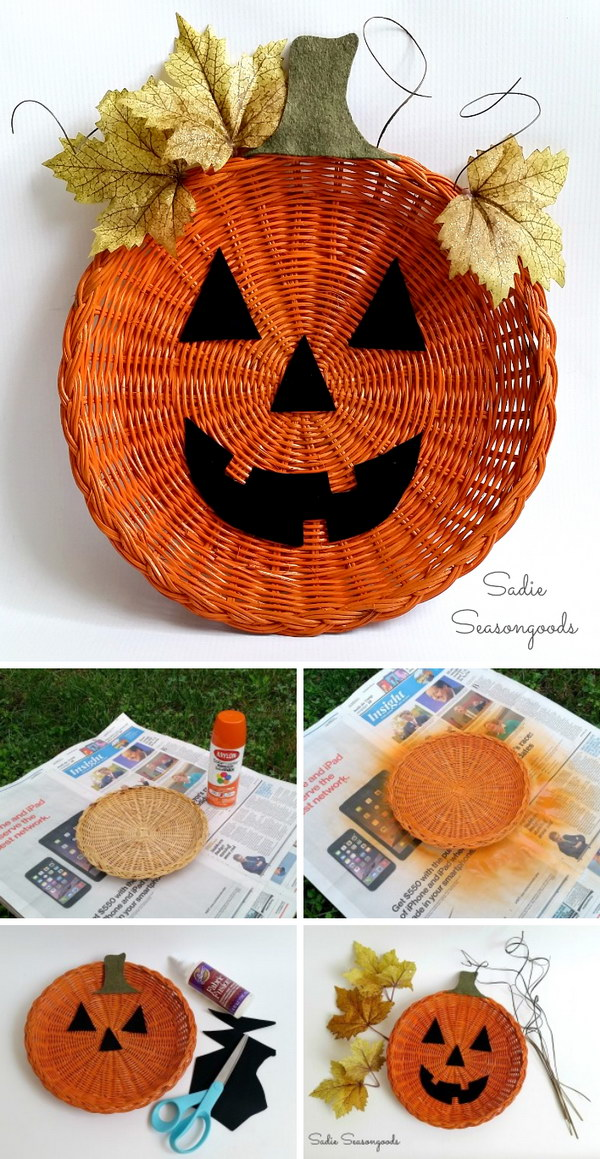 Paper Plate Holder Jack o Lantern Décor.