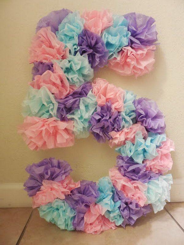 DIY Tissue Paper Birthday Number
