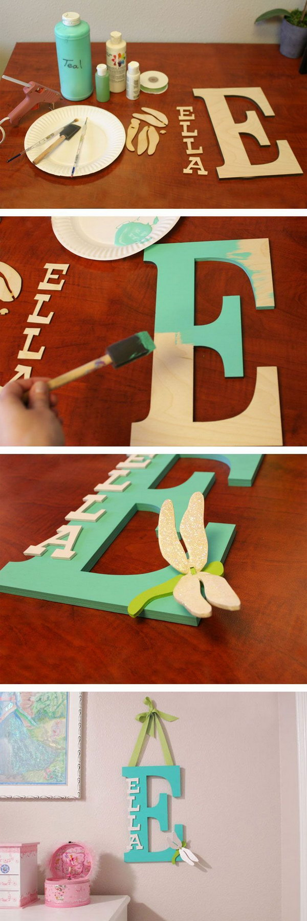 Painted Wooden Letter for a Kids' Room