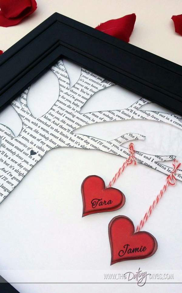 Personalized Family Tree with Poem or Song and Hearts on It.