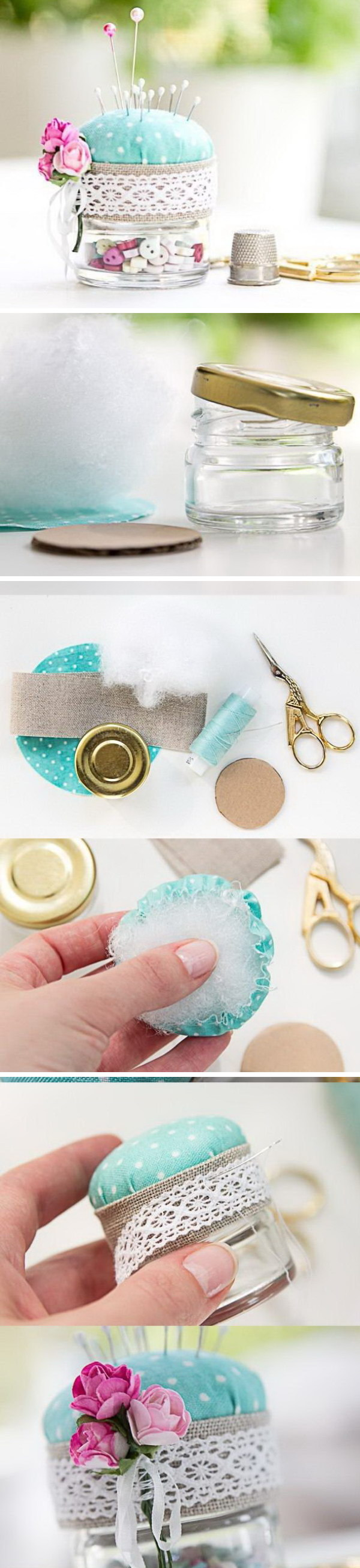 DIY Pincushion from a Jar.