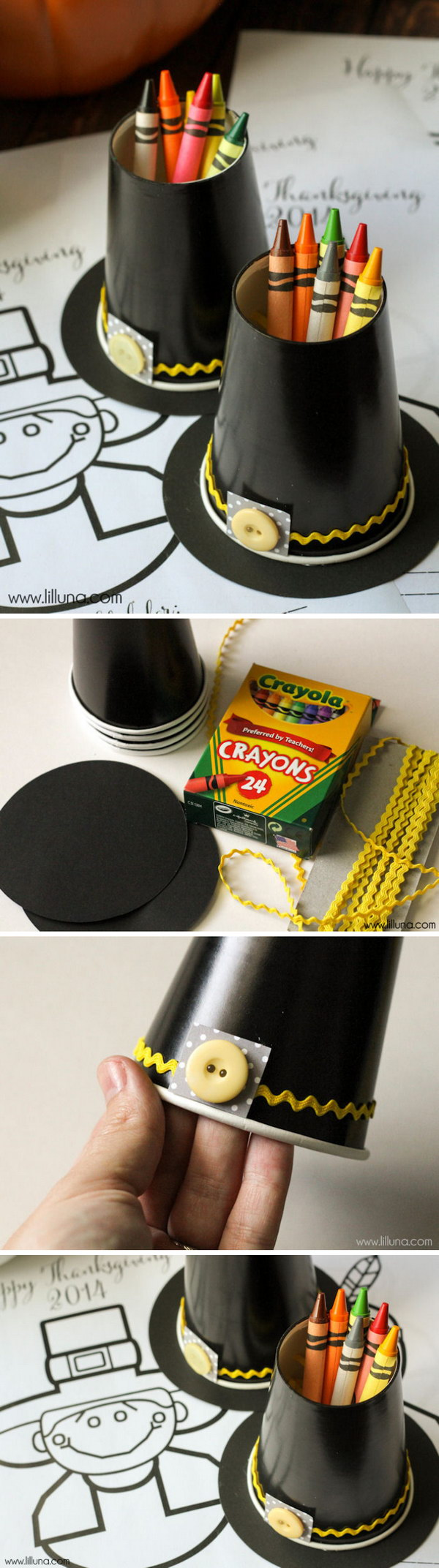 Pilgrim Hat Crayon Cups.