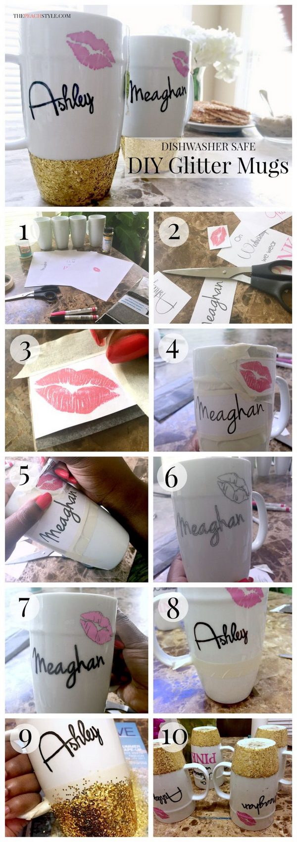 Personalized Glitter Dipped Mugs with Names and a Cute Pair of Lips.