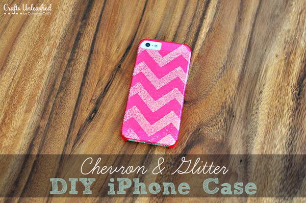 Chevron Glitter DIY iPhone Case.