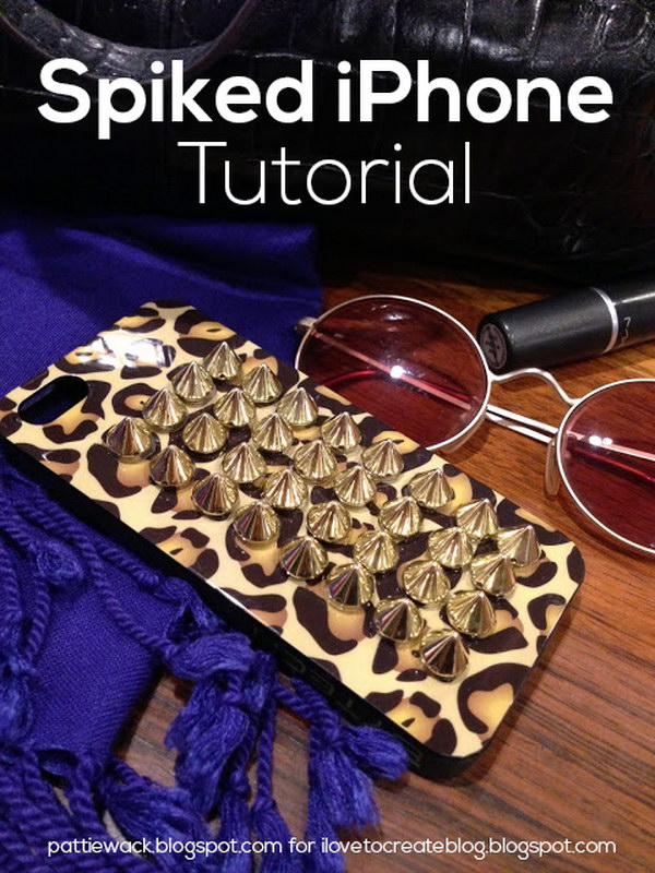 DIY Spiked iPhone Case Using Jewelry and Metal Tabs.