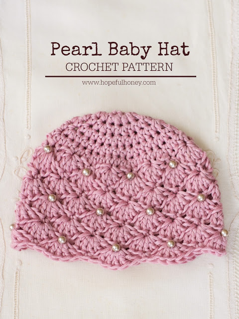 Vintage Crochet Pearl Baby Hat.