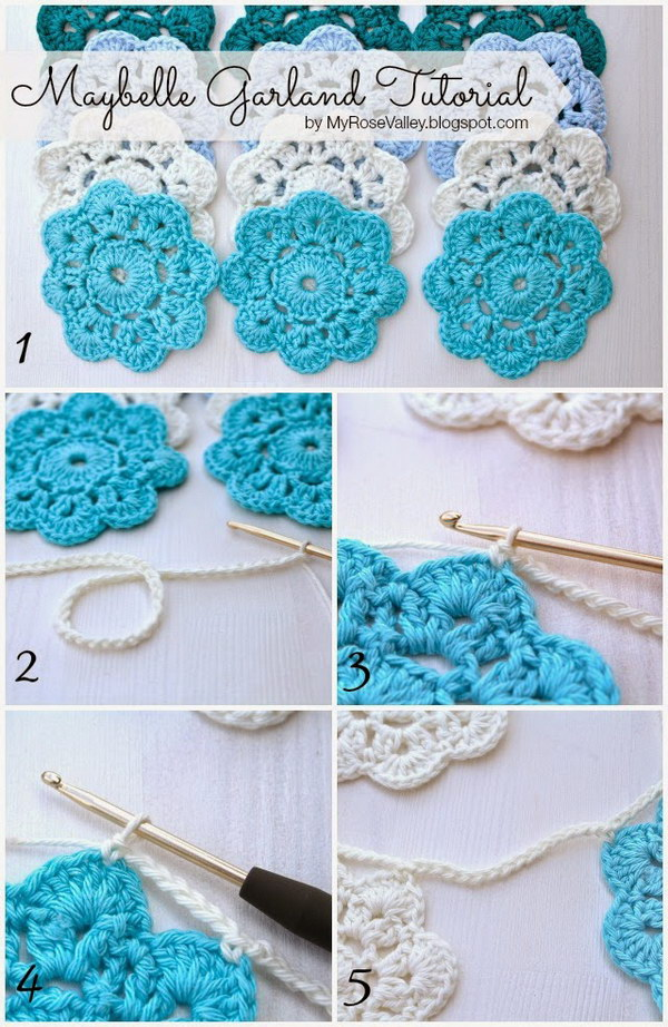 Crochet Maybelle Flower Garland.