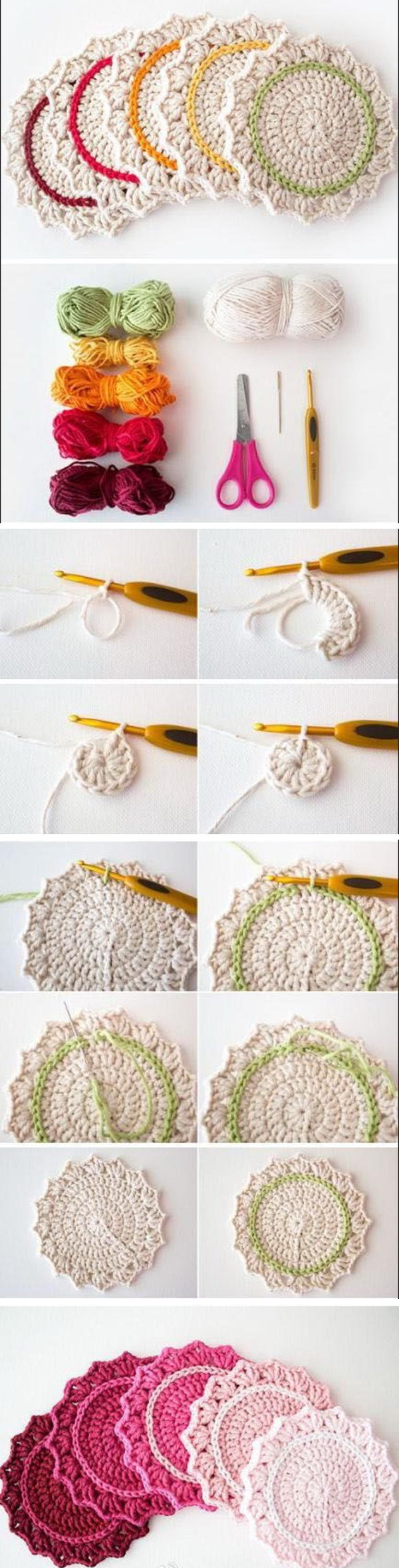 Ombre Crocheted Coasters.