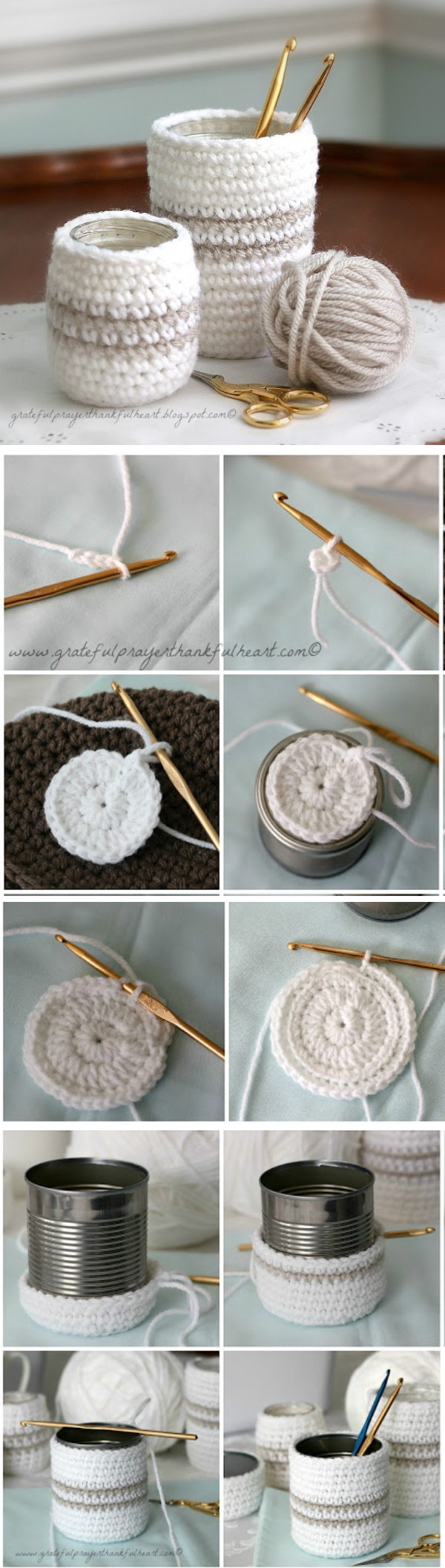 Crochet Cozy for Jars or Cans.