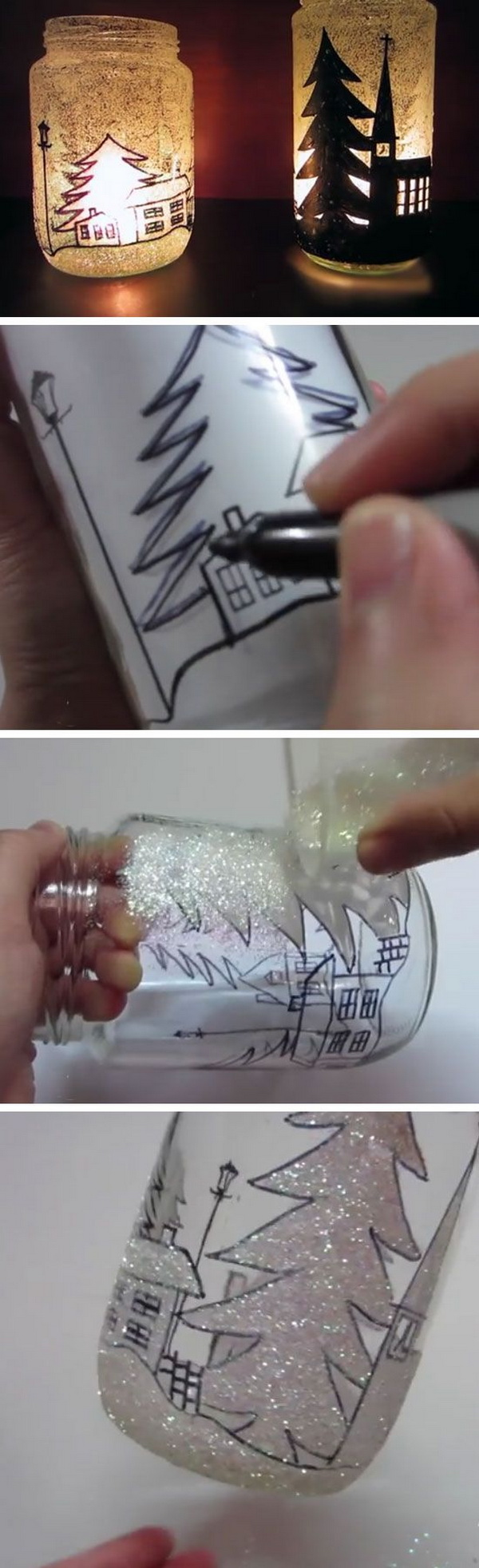 DIY Glittery Christmas Tree Lanterns.