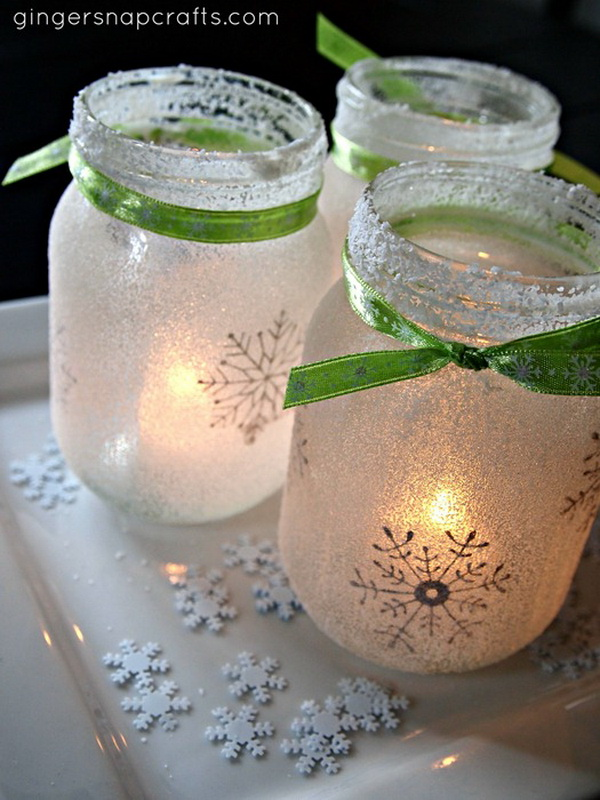 DIY Snowflake Christmas Mason Jar Luminaries.