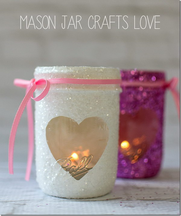 DIY Valentine Glitter Votives.