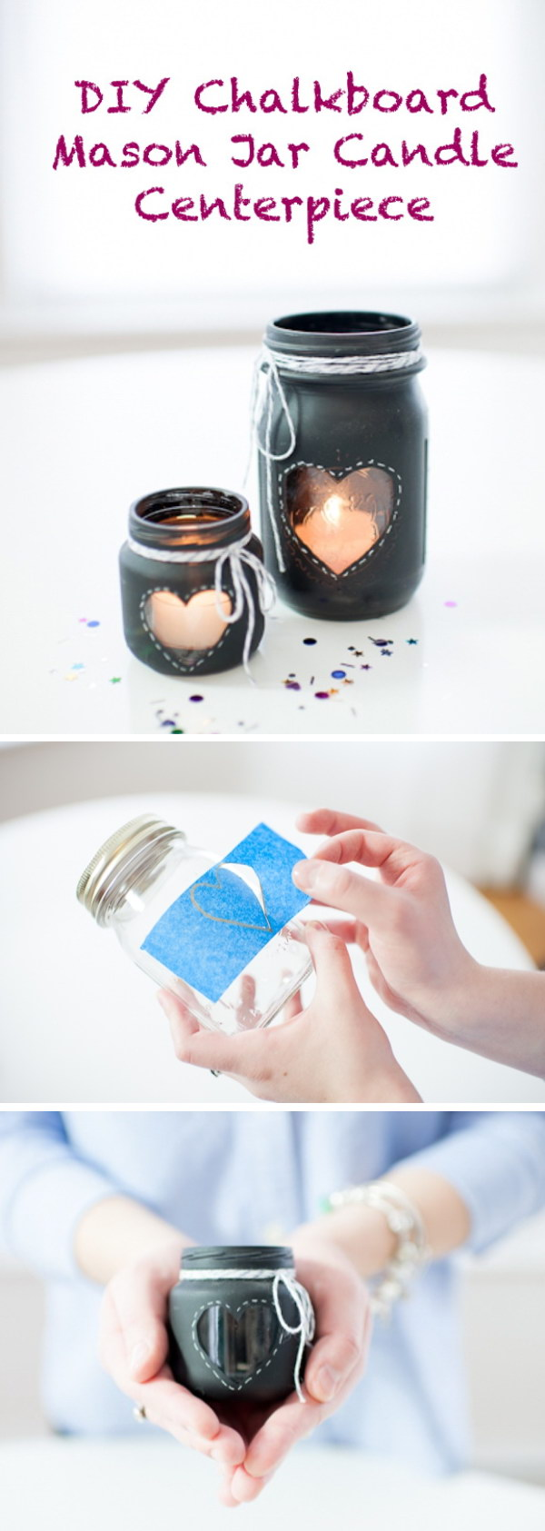 DIY Chalkboard Mason Jar Candle Centerpiece.