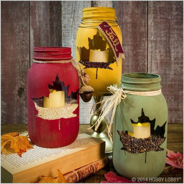 Maple Leaf Mason Jar Candle Holders.