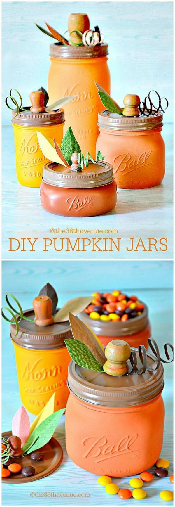 Easy DIY Pumpkin Mason Jars.