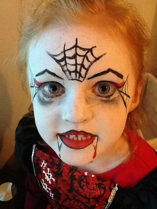 Easy Girls Vampire Face Painting.