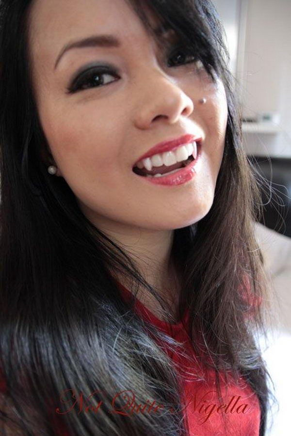 Vampire Teeth Made from Fake Nails and Denture Adhesive.