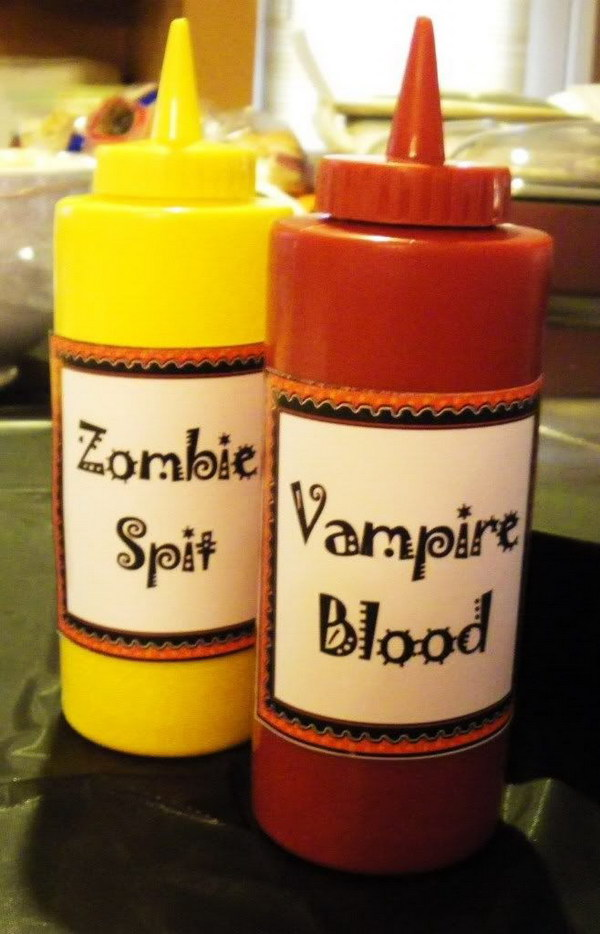 Halloween Zombie Spit and Vampire Blood. Pop any healthy sauce into these bottles and the kids will have fun while eating.