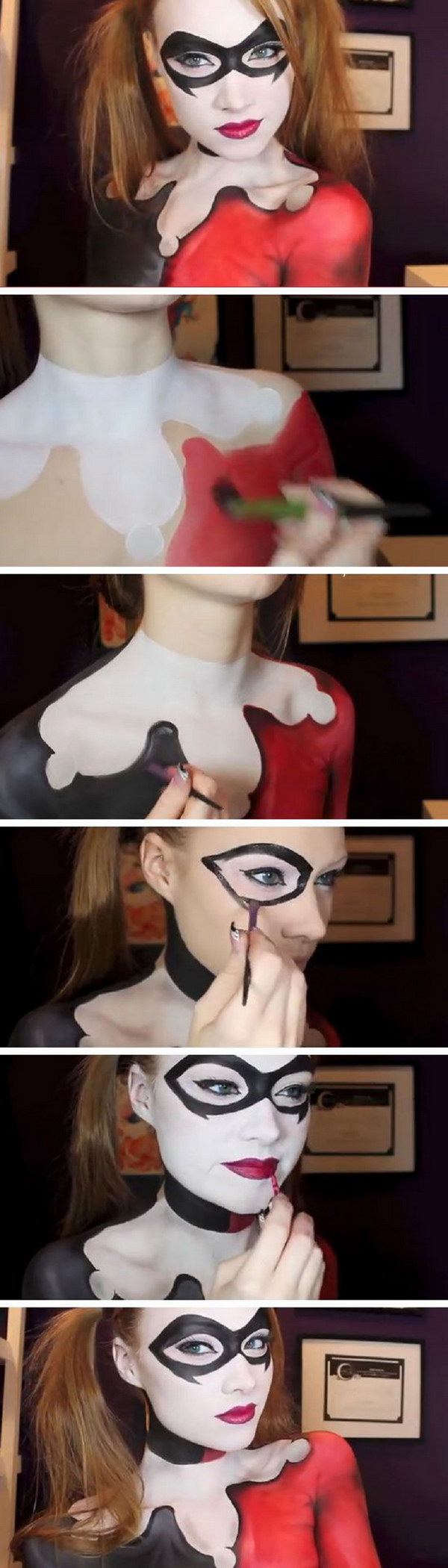 Harley Quinn - Batman Makeup & Body Paint Tutorial.