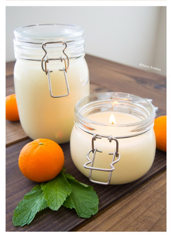 DIY Orange Mint Coconut Wax Candle. Add the great fragrance of orange, mint and coconut to your space with these beautiful candles.
