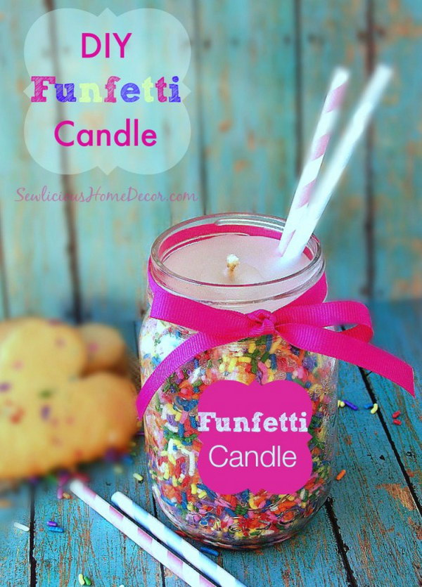 DIY Funfetti Candles Made from Candy Sprinkles. These DIY funfetti candles are pretty easy to make using candle wax and candy sprinkles. You can buy the supplies at most craft stores. They make great gifts.