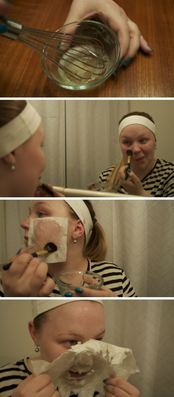 DIY Egg Whites and Tissue Face Mask.