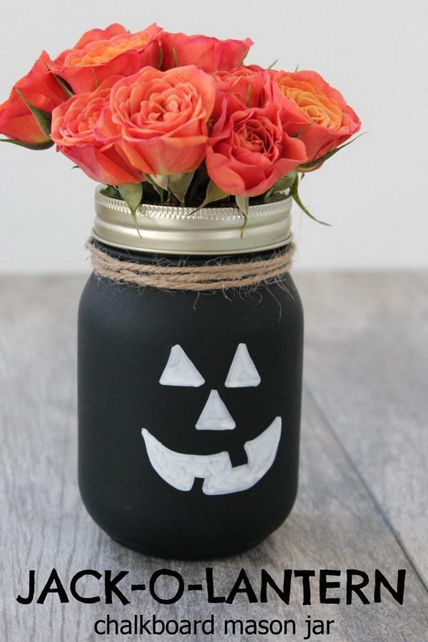Jack-O-Lantern Chalkboard Mason Jar.
