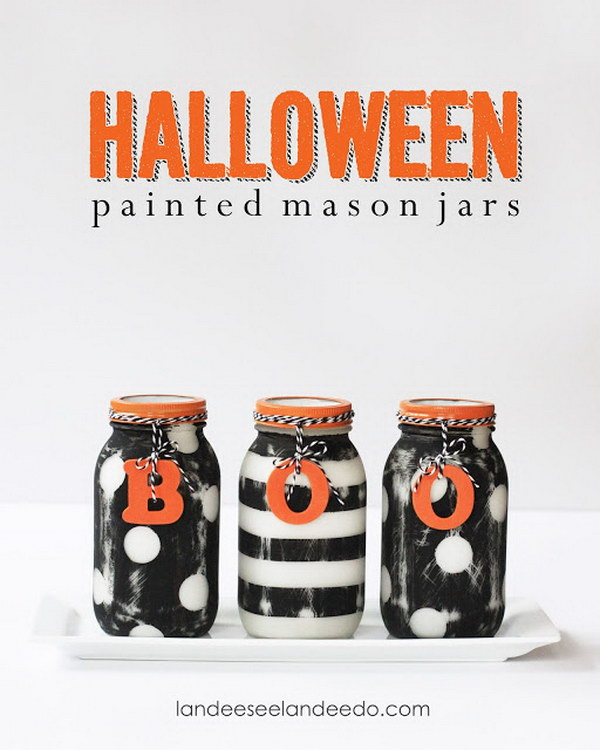 >Halloween Painted and Patterned Jars.