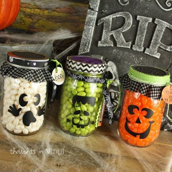 Mason Jar Halloween Decals.