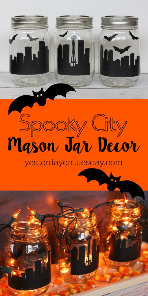 Spooky City Mason Jar Decor.
