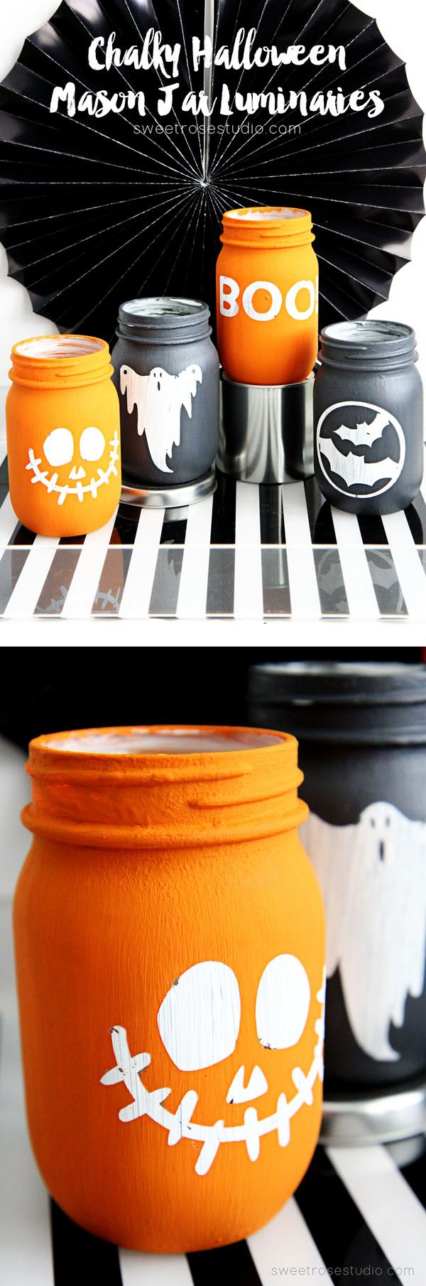 Chalky Halloween Mason Jar Luminaries.