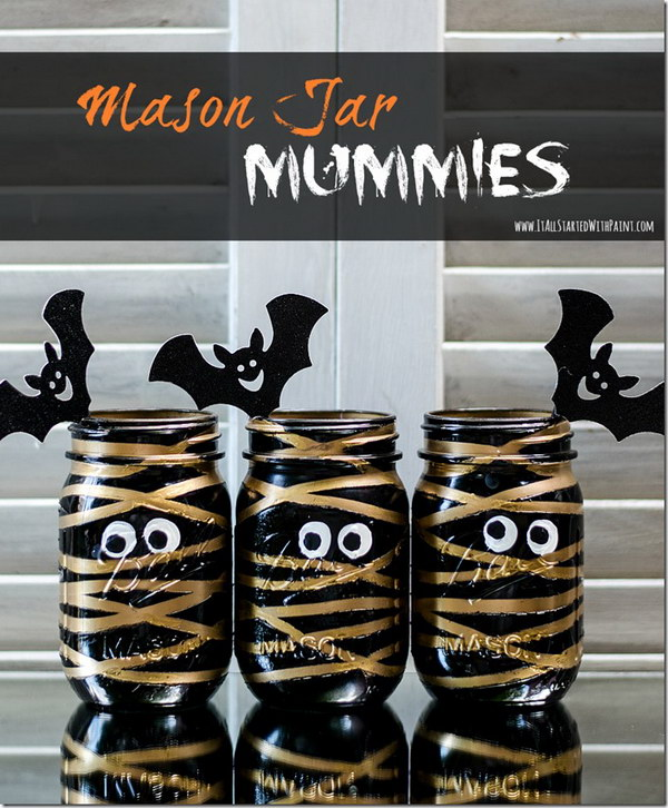 Painted Mummy Mason Jars.