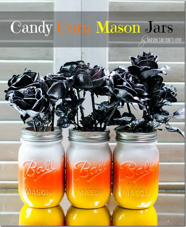 Candy Corn Mason Jars.
