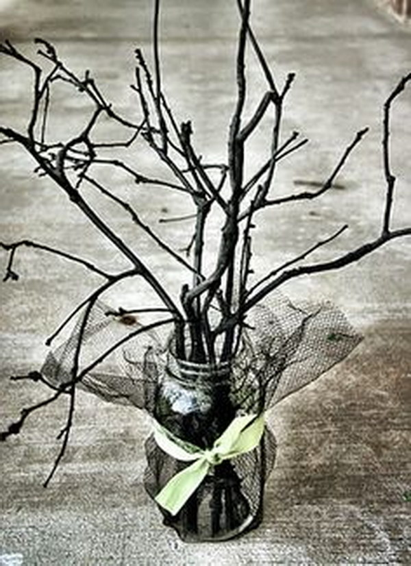 Halloween Spooky Sticks Mason Jar Centerpiece.