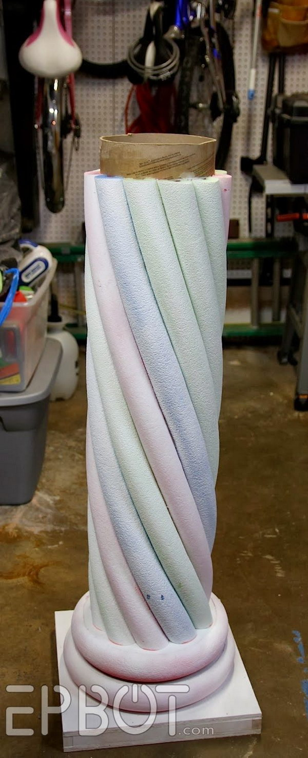 Make Your Own 'Stone' Decorative Column With Pool Noodles.