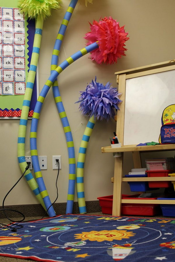 Pool Noodles Used for Dr. Seuss Classroom Decoration.