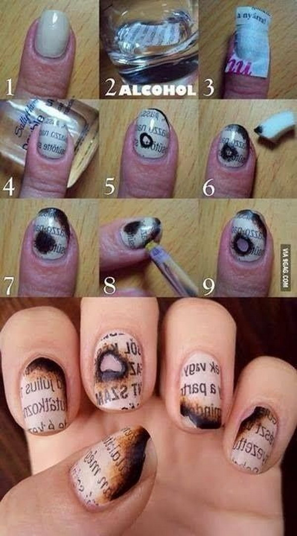 Newsprint Nail Art For Halloween. Newspaper and alcohol makes this awesome manicure! Perfect for your Halloween party.