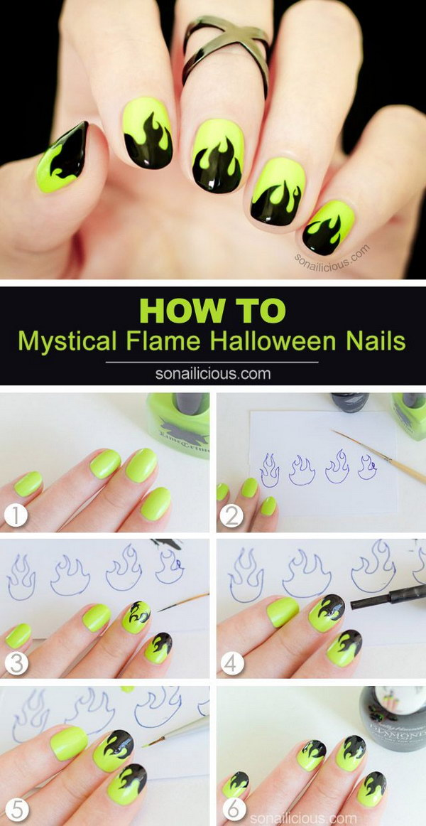 Mystical Flame Halloween Nails.