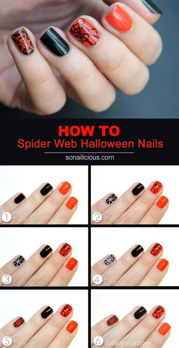 Easy Spider Web Halloween Nail Art.