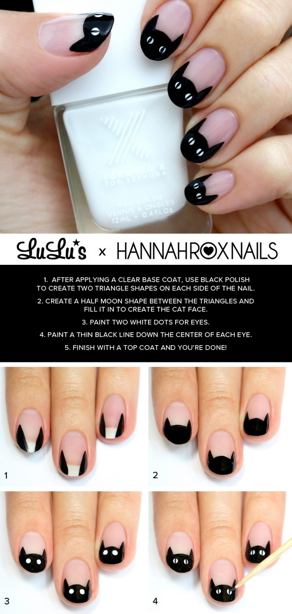 Black Cat French Nail Tutorial.